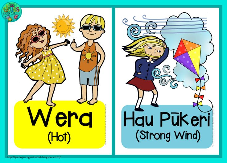 My beautiful Mum works at a special needs school, and recently needed a set of weather cards in Te Reo Maori and English to accompany a well known tune!  | found on Green Grubs Garden Club blog