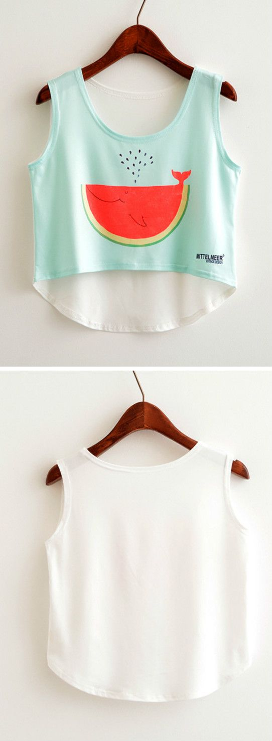 Just take this and enjoy your beach weekend! This crop top features fruit graphic, round neck, sleeveless design. More collection at azbro.com