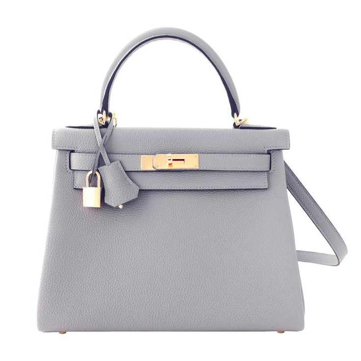Hermes Gris Mouette New Grey 28cm Togo Kelly Bag Gold Hardware