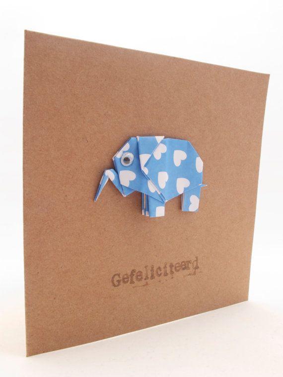 new baby  happy birthday origami elephant card baby boy