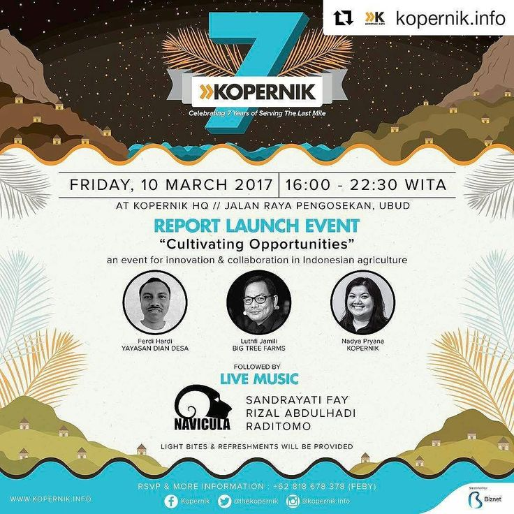 #Repost @kopernik.info with @repostapp  This year Kopernik is turning 7 and we want to celebrate with you! - On Friday 10 March 2017 we invite you to join our anniversary celebration  or as we like to call it  the K-DAY! - Come and explore more about our latest work and enjoy live music by @naviculamusic @rizalmusicofficial @sandrayatifay and Raditomo! - A few of Kopernik's multi-talented staff will also provide some of the entertainment with Balinese dance and more music. - This event free…