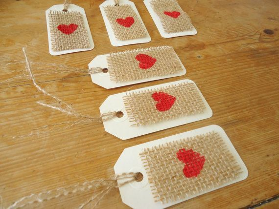 Burlap Red Heart Gift Tag/ Wedding Favor Tag / Escort Tags Hanging Tags Party Favor Shower Tags