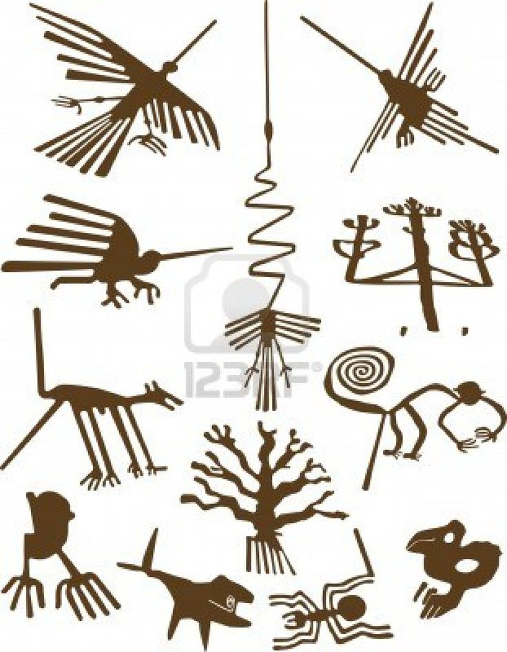 """Nazca Lines Stock Photo - 1629049 -- note the extra """"tail"""" on the monkey and dog is thought to have been part of a processional way"""