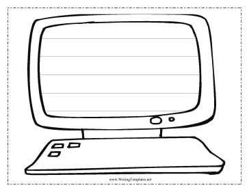 A Computer With Keyboard And Screen Five Handwriting Lines Makes This Free Printable Writing Template Great Coloring Page Classroom