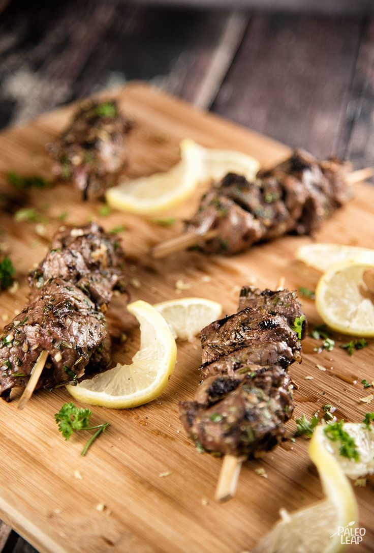 Tender grilled Beef sirloin in a refreshing lemon-herb...