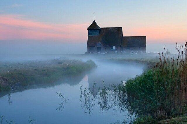 Fairfield church in dawn mist, Romney Marsh, near Rye, Kent, England by Stuart Black.