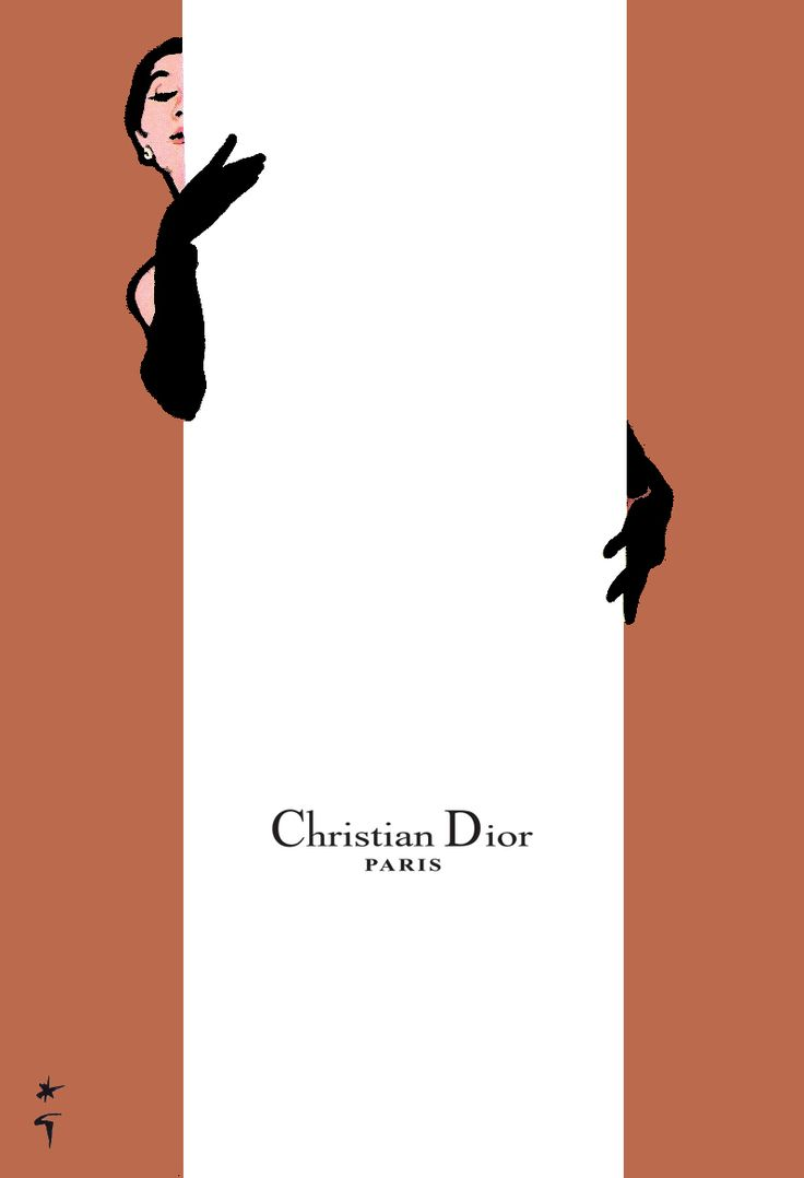 Christian Dior illustration by René Gruau, 1958. Never hide your chic under a bushel/panel, mademoiselle.