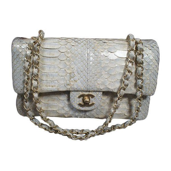 Chanel - CHANEL 2.55 Silver Python Double Flap Bag GHW ❤ liked on Polyvore featuring bags, handbags, clutches, chanel, accessories, purses, silver handbags, chanel purse, purse clutches and snake print purse