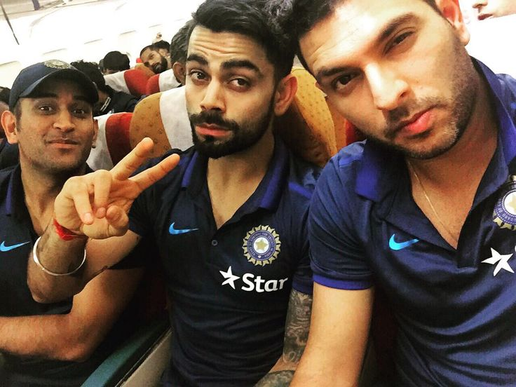 Virat Kohli, MS Dhoni and Yuvraj Singh share a selfie while traveling to #Bangladesh for #MicromaxAsiaCupT20 Stay tuned @ http://www.yupptv.com/cricket/asiacup.html