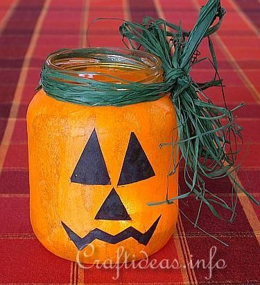 Cute pumpkin from a jar - you could use baby food jars for little pumpkins