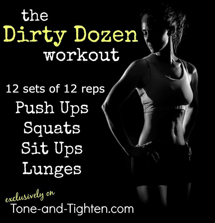One of my favorite at-home CrossFit inspired workouts - the Dirty Dozen. 144 reps of 4 of my favorite exercises; under 26' is a dang good goal. From http://Tone-and-Tighten.com