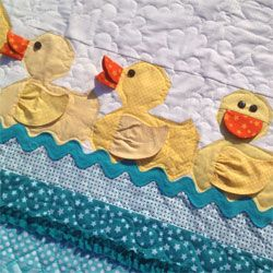 Lucky Ducks Baby Quilt Pattern by Cute Quilt Patterns at KayeWood.com. This adorable duck quilt has so much personality! The ducks are made with dimensional bills and wings that go together quickly, and will have your little one wrapped up in this quilt feeling like a Lucky Duck! http://www.kayewood.com/item/Lucky_Ducks_Baby_Quilt_Pattern/3915 &9.00