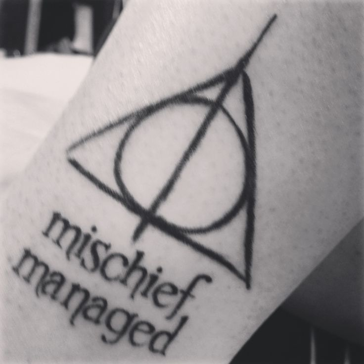 Deathly Hallows mischief managed tattoo - done at House of Tattoo in Tacoma, WA.