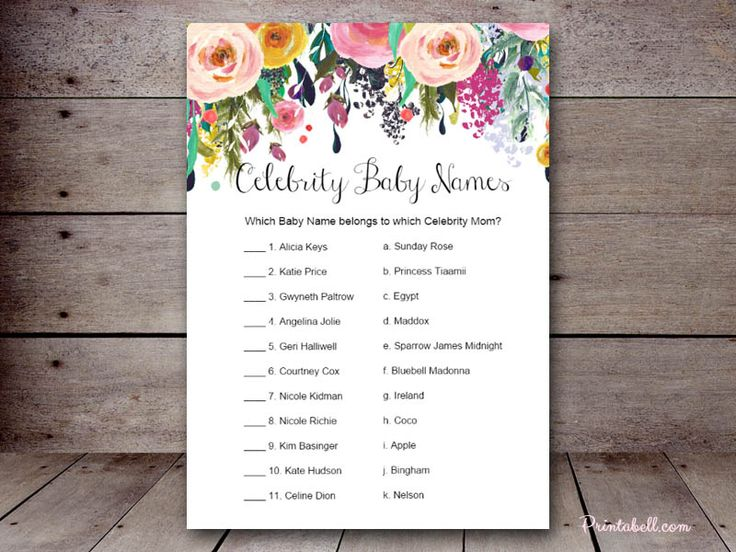 Baby Shower Names Game