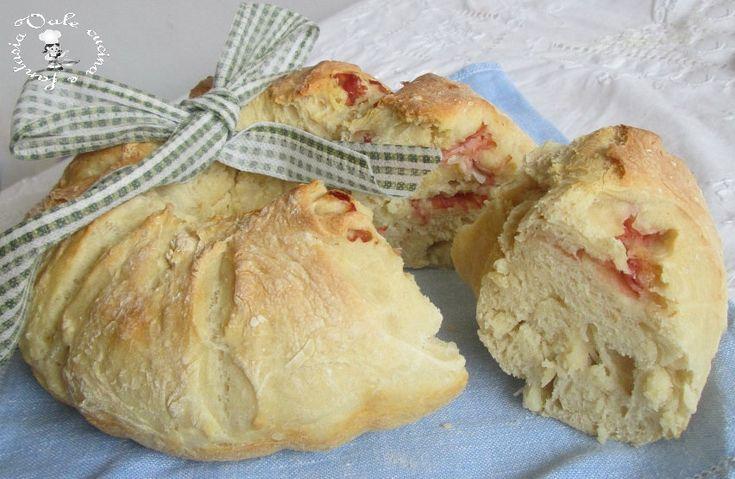 Ciambella di pan brioche salato con prosciutto cotto