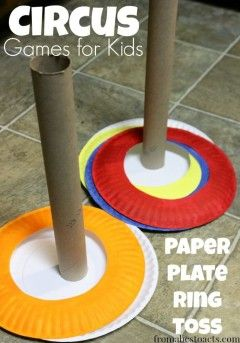 Preschool Circus Games - Paper Plate Ring Toss