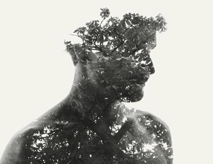 """But down deep, at the molecular heart of life, we're essentially identical to trees."" — Carl Sagan  We Are Nature Vol. III: New Double and Triple Exposure Portraits by Christoffer Relander portraits double exposure"