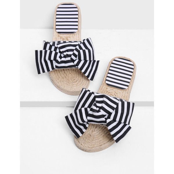 SheIn(sheinside) Bow Decor Striped Sandals (34 BAM) via Polyvore featuring shoes, sandals, black and white, peep-toe shoes, black and white espadrilles, black white sandals, black and white stripe shoes and espadrilles shoes
