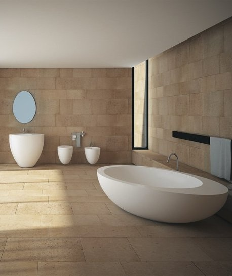 Ceramic #bathroom collection LE GIARE by Ceramica Cielo | #design Claudio Silvestrin #stone