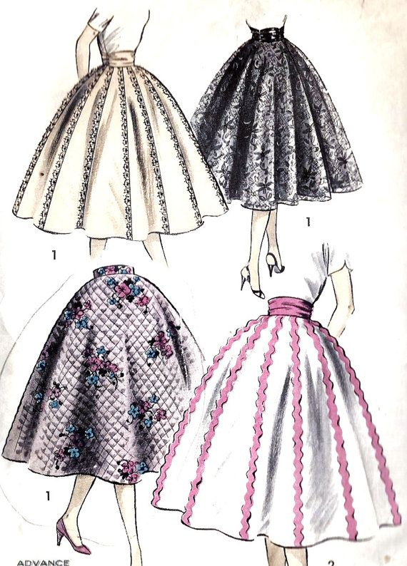 1950s Misses Circle Skirt and Cummerbund Vintage Sewing Pattern, Rockabilly,  Advance 7951 | via Etsy #1950s #circleskirt