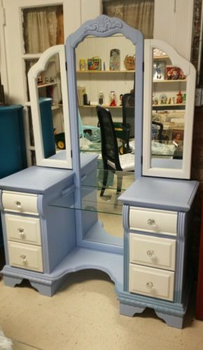Blue and White Custom Painted Vanity with Full Length Mirror and Crystal Knobs