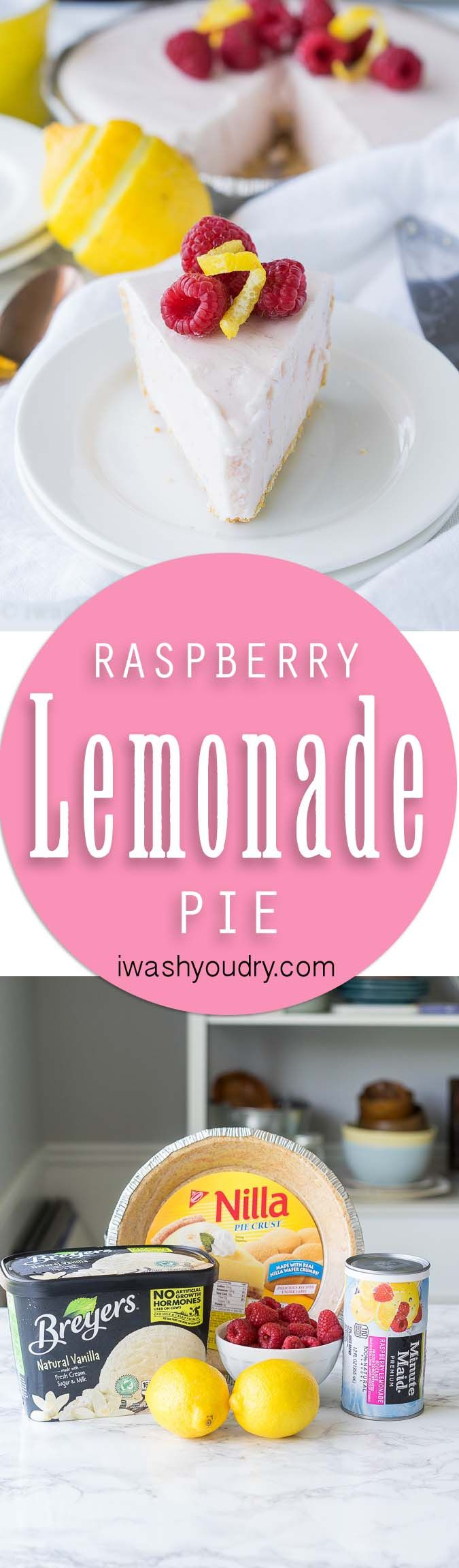 This super easy, 3 ingredient, Raspberry Lemonade Pie is a frozen pie that's perfect for a cool and refreshing dessert!