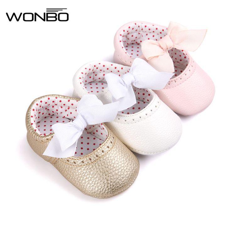 Moda de La Mariposa del nudo Del Bebé Inferior suave Mocasín Zapatos de Los Bebés Recién Nacidos Prewalkers antideslizantes, zapatos, Zapatos de Cuero de LA PU para bebé de Las Muchachas