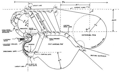 layout for a working arena for a ranch
