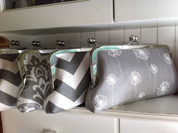 Set of 5 Bridesmaid Clutches, Bridesmaid Gifts, Custom Personalized Labels, Gray or Choose Your Colors via Etsy