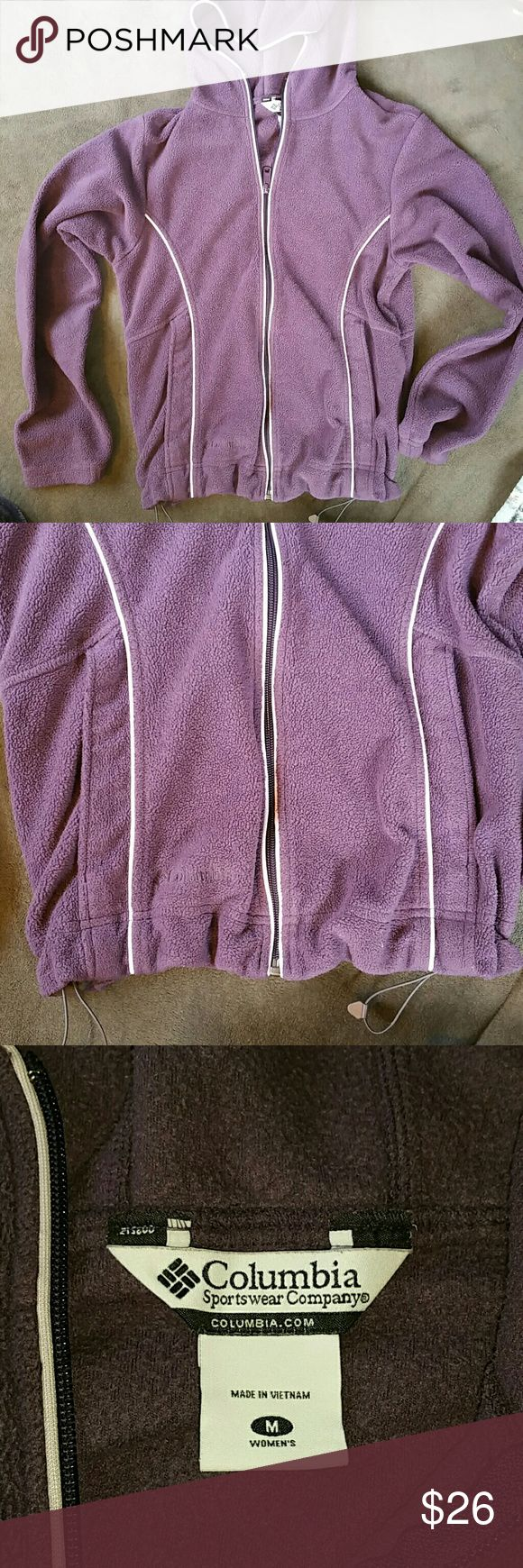 Columbia women's size M purple hooded jacket Columbia women's size Medium purple hooded jacket. Full zip up and cinched waist. Columbia Jackets & Coats