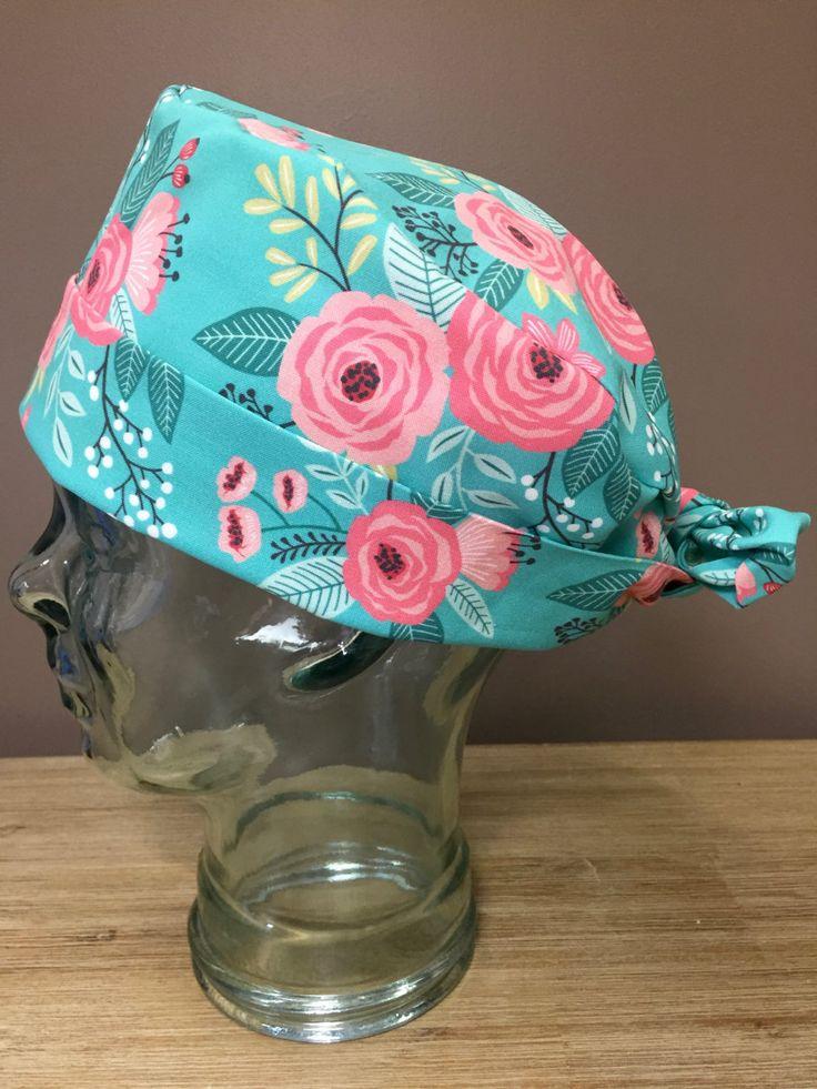 Teal Floral Garden Party Surgical Scrub Caps,Beautiful Women's Pixie Scrub Cap, Custom Caps Company by CustomCapsCompany on Etsy