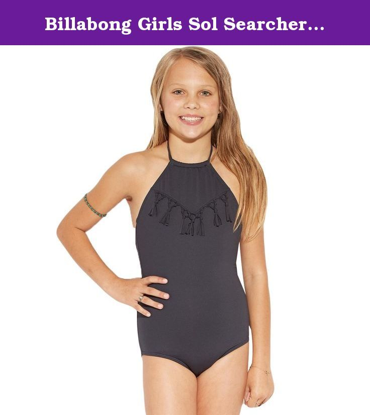 Billabong Girls Sol Searcher Halter '16 One Piece Swimwear 10 Black Sands. Billabong Swimwear cool and comfortable.