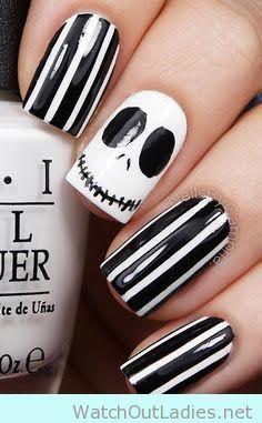 Jack Halloween manicure idea