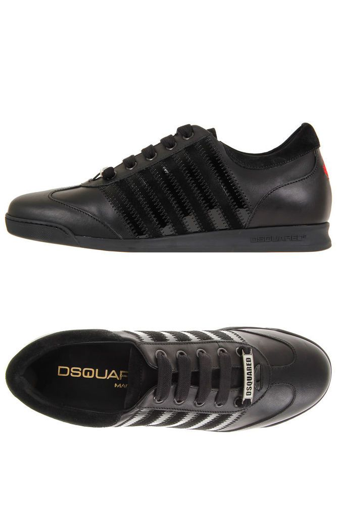 Dsquared² D2 Dsquared2 Men New black Leather Sneaker Shoes Made in Italy