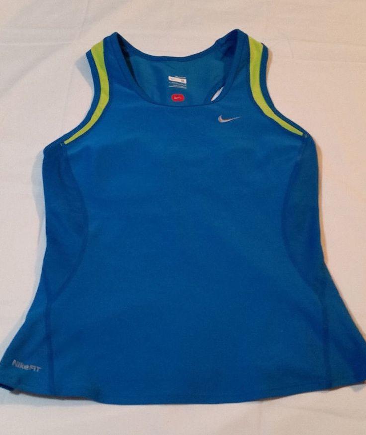 NIKE Dri Fit Women's Running Gym Athletic Workout Blue Tank Top Shirt M #Nike #ShirtsTops