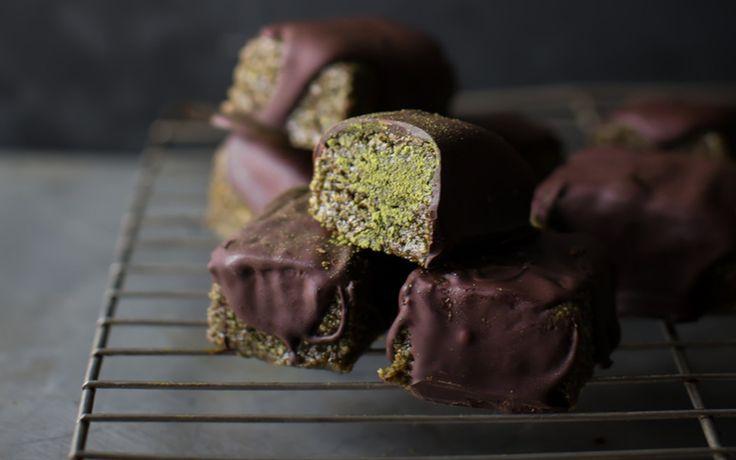 Matcha, Pistachio and Chocolate Marzipan Bars [Vegan, Gluten-Free] | One Green Planet