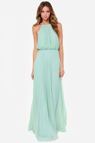Mint Sleeveless Halter Pleated Maxi Dress