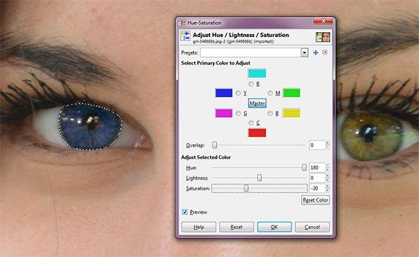 Here is a tutorial how to change eye color in GIMP. Changing eye color with GIMP can be done by making a selection on the eyeball using path tool and then use the command Colors> Hue-Saturation. Colors can be changed simply by adjusting the slider Hue, Lightness and Saturation. Maybe you want to duplicate the layer first, so that the original image is safe. We will work using a duplicate layer.