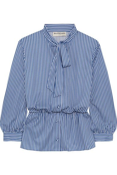 Balenciaga - Lavalliere Pussy-bow Striped Stretch-jersey Shirt - Blue - FR36