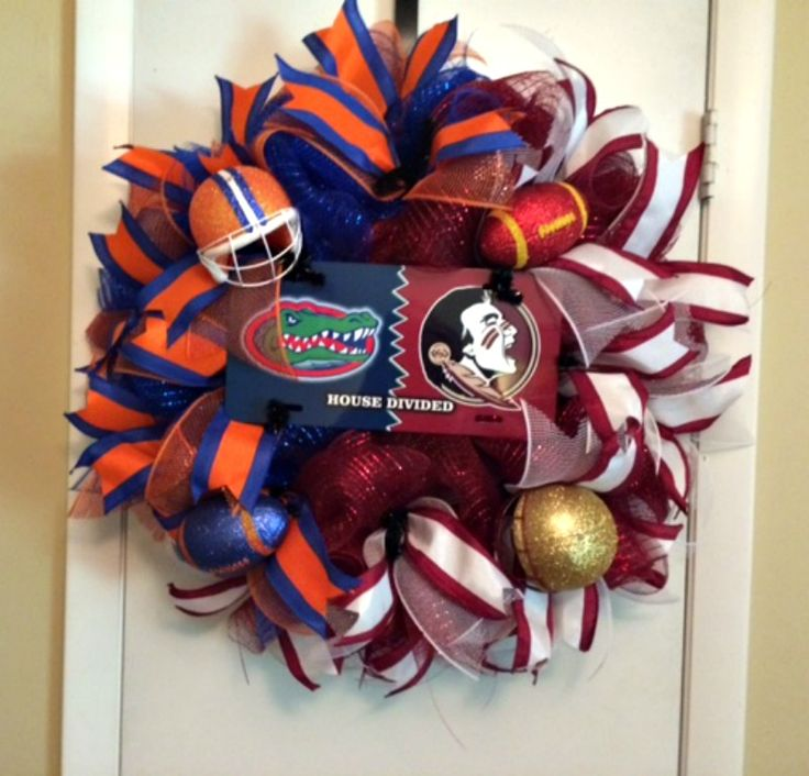 Florida Gator/ Florida Seminoles House Divided Wreath - custom order sold from my Etsy shop - www.etsy.com/shop/Doris2618
