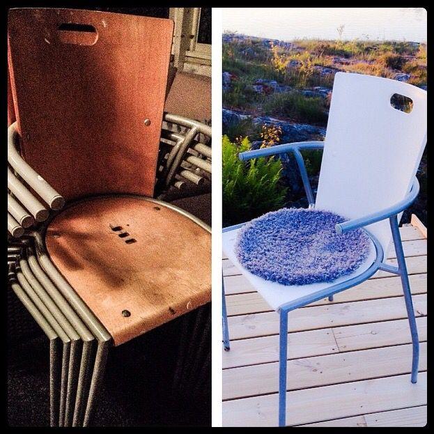 Renovering av gamla stolar. Älskar stolar!! Dessa är köksstolar på landet. #lönsholmen #landet #svanviken