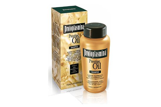 Prestige Oil Shampoo:Azione nutriente ed illuminante per tutti i tipi di capelli. Lo Shampoo si avvale della tecnologia dell'Oro Microattivo che migliora la struttura del capello favorendo la trasmissione di tutti i benefici del prezioso metallo
