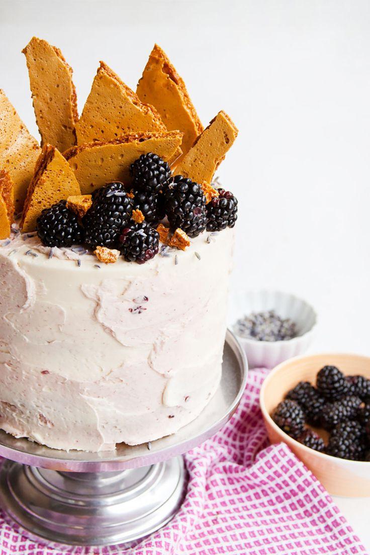 Blackberry Lavender Honeycomb Cake Is the Dessert Your Summer Needs via Brit + Co.