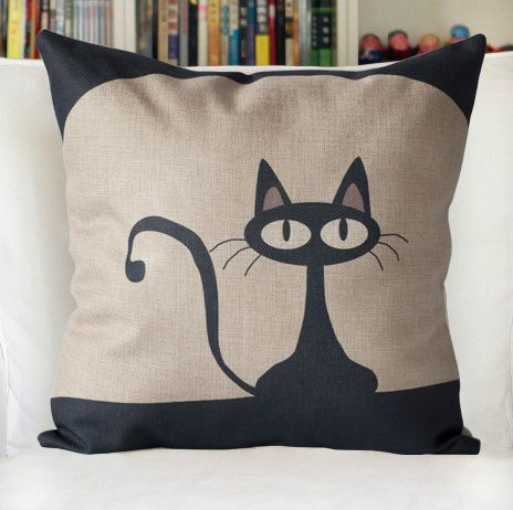 Hoge desigual linnen decoratieve gooien kussensloop zwarte katten witte sofa kussenhoes home - Sofa zitplaatsen zwarte ...