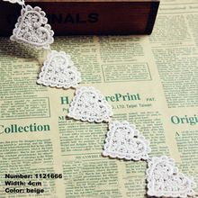 FREE SHIPPING 1121666 5 Yard 4cm Beige Hearts Wave Embroidery Lace Embroidered Water Soluble Cotton Cloth Lace Trim Ribbon(China (Mainland))