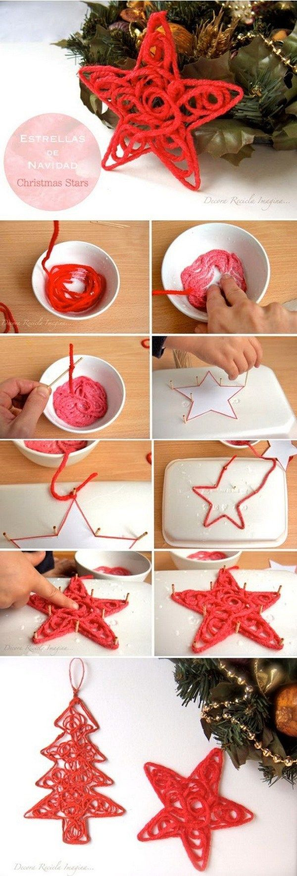Christmas Star Ornaments. You can whip up a bunch of these festive star ornaments in no time to decorate your Christmas tree or use as holiday gilfts to your friends! Easy and Fun DIY Christmas crafts for You and Your Kids to Have Fun.