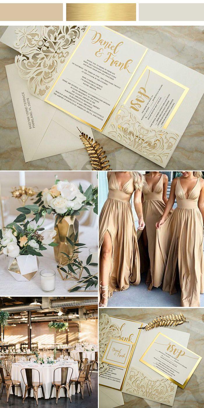 modern industrial champagne gold and ivory laser cut wedding invitations #EWI #weddinginvitations