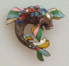 BRONZE COLOR COY FISH BROOCH PIN ENAMELED & COLORFUL PAVE RHINESTONES 2