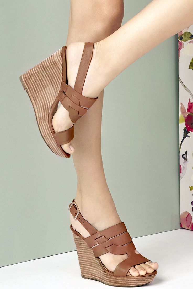 1209fc3d0c Tan leather platform wedges with comfortable stacked heels | Sole Society  Jenny