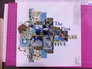 A creative layout of my son's first five birthdays